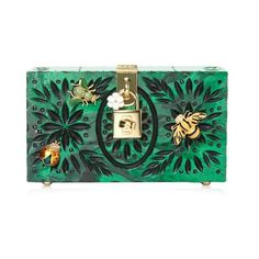 Dolce & Gabbana Embellished plexiglass clutch ($2,860) ❤ liked on Polyvore featuring bags, handbags, clutches, green, box clutch, hardcase clutch, print handbags, green handbags and pattern purse