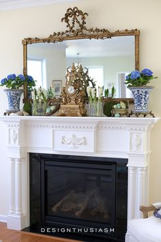 Spring mantel decor ideas for the family room | DIY Easter decorating ideas with birds nest and eggs | Spring decorations for simple but elegant farmhouse mantles | designthusiasm.com