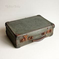 Vintage Rustic 1930s/40s Small Slate Grey Card Evacuee Case Suitcase by UpStagedVintage on Etsy