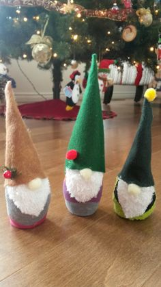Christmas gnomes made from felt and socks.