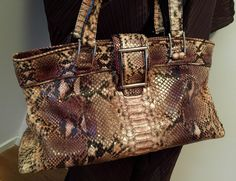 Lambertson Truex Python Satchel Handbag Vintage Authentic Lambertson Truex hand bag python handbag statement handbag leather handbag by NUKOBRANDS on Etsy