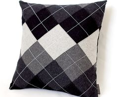 Shades of Gray and Black Argyle Pattern Decorative Pillow