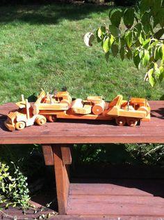 Wooden Toy Semi Truck, Lowboy Trailer Steam Roller, Front Loader & Bull Dozer