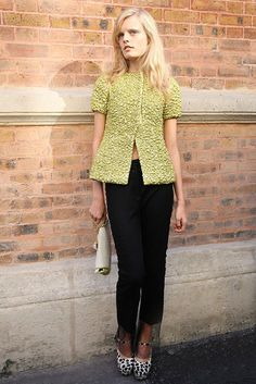Paris Street Style  Hanne Gaby Odiele looked chic in a cool chartreuse top and animal print platforms.