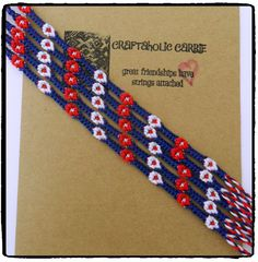Woven USA themed Daisy Friendship Bracelet by CraftaholicCarrie on Etsy