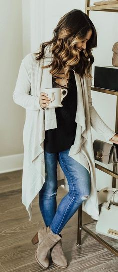 #winter #outfits white cardigan and black blouse