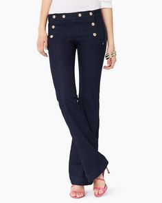 Sailor Pant w/ neutral, strappy heel (note hardware detailing on front of pant)