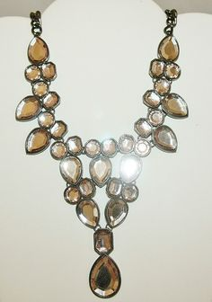 """For sale at Retrophoria.com, $65.00 - Designer necklace that measures almost 20"""" measures. The stones have a delicate pink hue and are mirror backed."""