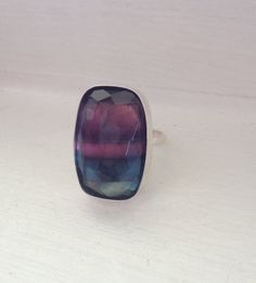Large Rectangle Natural Blue and Purple Striped by GildedBug, $68.00