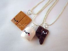 Best Friends Kawaii S'mores Polymer Clay Charms BFF Silver Necklace 3 Piece. $24.00, via Etsy.