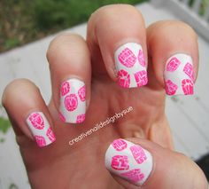 pink crackle spots over white nail art design (by creative nail design by sue)