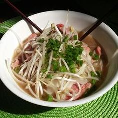 Authentic Pho. Make sure you use the shank and knee bones. I didn't because the butcher wouldn't cut them form me. So I used marrow bones. Nope. Smells good but the flavor isn't there. Otherwise, a good recipe.