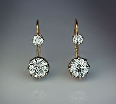 Vintage Two Stone Diamond Earrings circa 1910 The silver topped 14K gold leverback earrings are prong-set with four sparkling old European cut diamonds: 0. Black Diamond Earrings, Diamond Studs, Diamond Jewelry, Stud Earrings, Emerald Earrings, Solitaire Diamond, Topaz Earrings, Raw Diamond, Teardrop Earrings