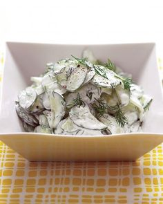Reduced-fat sour cream (in place of full-fat) lowers the calorie count without losing taste -- Cucumber Salad with Sour Cream and Dill Dressing Recipe