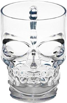 Circleware Clear Heavy Base Glass Skull Face Drinking Mug cup with Glass Handles 18 Ounce Limited Edition Glassware 1 Beer Juice Water Drinking Glass ** You can find out more details at the link of the image.