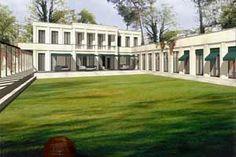 Blick auf die Gartenseite der Villa vom englischem Rasen des Pleasuregrounds.