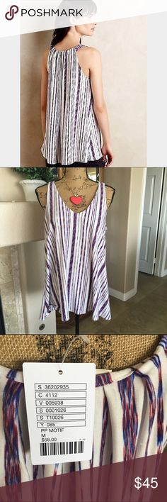 "Puella Swing Tunic Tank Top Adorable tank top! Fashionable and cool for summer! Easy and breezy! The fabric is so fluid and soft! The bust measures approx 38"" and the length 27"". Made in the USA! Purchased at Anthropologie. Brand is Puella. Anthropologie Tops Tank Tops"