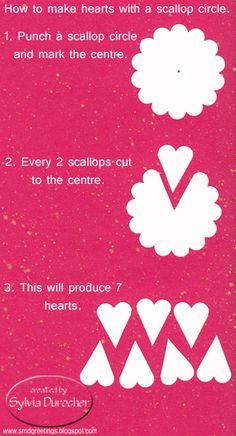 Hearts From Scallop Punch Art Card Making Tips, Card Making Tutorials, Card Making Techniques, Paper Punch Art, Punch Art Cards, Origami, Craft Punches, Paper Cards, Scrapbook Cards