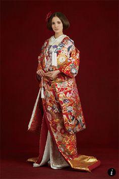 オーセンティック(Authentique) 銀座 古都桜七宝松竹梅 Traditional Wedding Dresses, Traditional Clothes, Japanese Costume, Wedding Kimono, Yukata, Sari, Costumes, Geisha, Formal