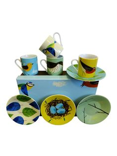Set Of 4 Birdy Espresso Cups & Saucers - Hunkydory Home