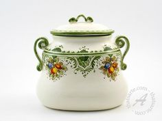 Handpainted Italian Ceramic Biscotti Cookie Jar by Ammannati
