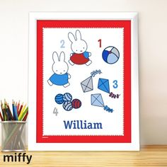 Learn to count with Miffy and this Personalised Miffy Lets Count Large Name Frame. A fun and vibrant framed print that is sure to brighten up a playroom or child's bedroom. Personalise with the child's name to create a bespoke new baby present or personalised christening gift. Each framed print measures approximately 33x40cm.