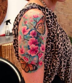 ae15bec13 Butterfly and flower sleeve tattoo - 100+ Amazing Butterfly Tattoo Designs  <3 &lt