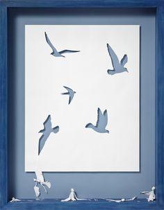 The Birds of the Air, 2009 Acid-free 120 gsm paper, glue and oak frame. 107 x 83 x 13 cm - Peter Callesen Peter Callesen, Kirigami, Paper Cutting, Paper Art, Paper Crafts, Paper Glue, Art Plastique, Box Art, Silhouette