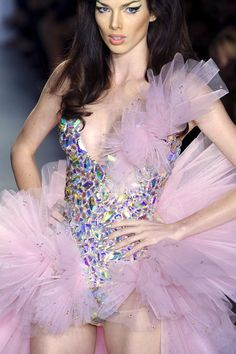 gem tulle bodysuit pink Barbie rave girl purple holographic
