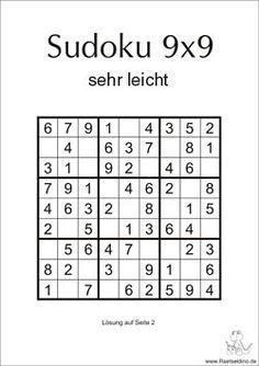 Sudoku sehr leicht zum gratis Download