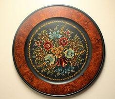 "Beautiful German Bauernmalerei  on 20"" Beaded Rimmed Bass Wood Plate"