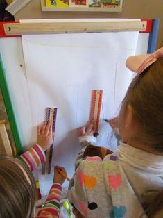 Neighborhood under construction in preschool | Teach Preschool  blue prints on easel....community/how house is built
