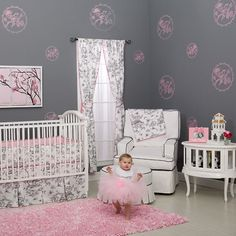 love the stenciling and the shaggy pink rug