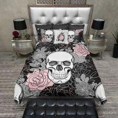 Pink and Grey on Black Flower Skull Duvet Bedding Sets Pink Bedding Set, Duvet Bedding Sets, Black Bedding, Luxury Bedding Sets, King Comforter, Linen Duvet, Skull Bedroom, Bedroom Decor, Gothic Bedroom