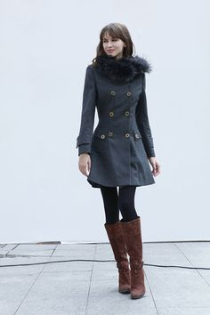 Dark Grey Cashmere Hooded Coat
