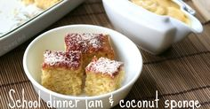 Dinner Jam and Coconut Cake WagDolls adventures in fitness, fashion, sewing and everyday minutiaeWagDolls adventures in fitness, fashion, sewing and everyday minutiae Jam And Coconut Cake, Coconut Cake Easy, Coconut Sponge Cake, Oatmeal Coconut Cookies, Coconut Cakes, Tray Bake Recipes, Baking Recipes, Dessert Recipes, Pudding Recipes