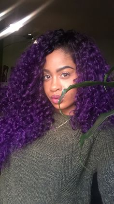 25 Ideas For Hair Curly Color Purple Natural Curls Dying My Hair, Love Hair, Big Hair, Gorgeous Hair, Dyed Curly Hair, Colored Curly Hair, Curly Hair Styles, Natural Hair Styles, Purple Natural Hair