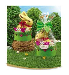 Cestino in feltro |Gold Bunny    Un originale cestino fiorito in feltro, con all'interno tutta la golosità di un Gold Bunny al latte da 200g, diventa un perfetto regalo.
