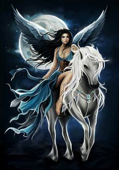 I prefer a girl with angel wings riding a white pearly dragon