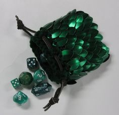 Scalemail Dice Bag Dragonhide Knitted Armor  by Crystalsidyll, $19.00