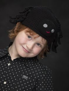 Have some creepy crawley fun with this crochet Spider hat. Dress them all in black and they are good to go!