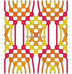 Friendship bracelet pattern 16811 - 16 strings, 4 colours