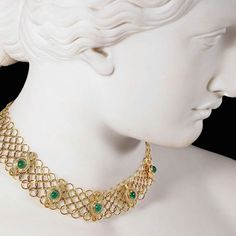 @brunkauctions This beautiful shot was used as the cover for May 19-20 Catalog Cover. It features a bust of Daphne by Harriet Hosmer wearing an 18kt. Emerald and Diamond Necklace.