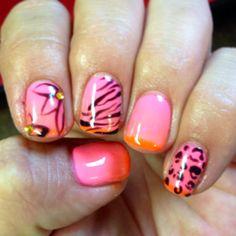 Orange and pink nail art!!!