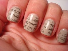 cut squares of newsprint larger than nails.  apply a base coat of polish. when nails are completely dry, soak them in alcohol, then press newsprint on nail and slowly pull off.  top coat to seal.