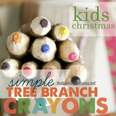 a fun christmas gift to make with the kids - easy tree branch crayons!