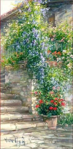Italian House With Flowers ~ Antonietta Varallo !!!!!@@@@@¡¡¡¡¡.....http://www.pinterest.com/elianecarneiro/paisagens-3/