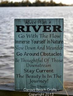 Advice From A River Sign Quote Wall Art River House Decor Signs Painted Rustic Wood Plaque Poem Inspirational Gifts