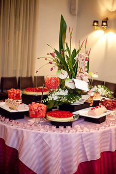 Make your buffet a feature at your event using coloured linen and flowers #buffet #linen #pink #event #decoration #inspiration  www.decorit.com.au
