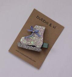 Glitter Hair Clip - Ice Skate Hair Clip - Glitter Ice Skate Hair Clip - Ice Skate Headband, Bubba and Vi on Etsy, $16.68 AUD